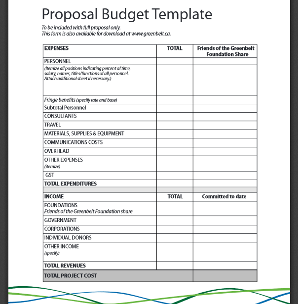 grant proposal budget template excel