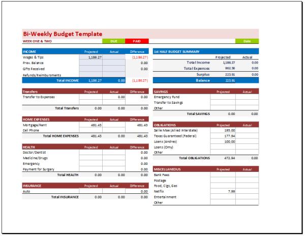 Bi-Weekly Budget Planner Template