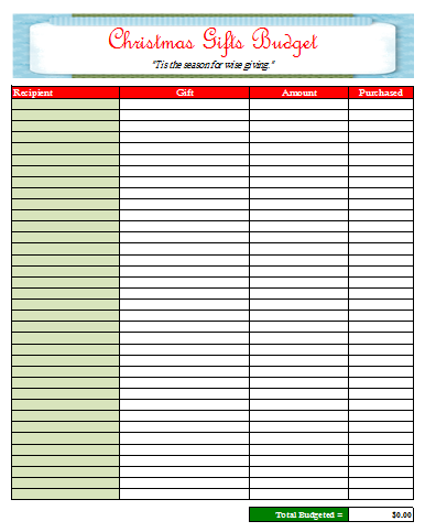 Christmas Shopping Budget Sheet