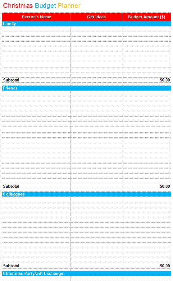 Christmas Shopping Budget Template