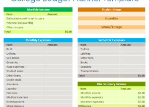 College Budget Planner Template