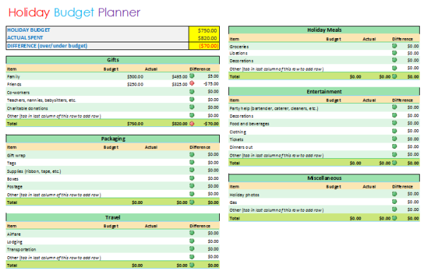 holiday budget planner template basic format
