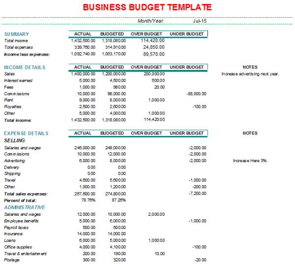 monthly business budget format with charts. Black Bedroom Furniture Sets. Home Design Ideas