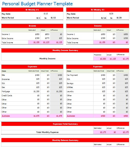 Bi-Weekly Personal Budget Planner