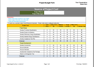 Project Budget Planner Template