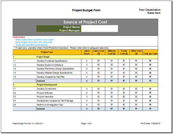 Project Design Template | Project Budget Planner Template Budget Templates