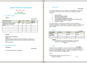 Budget Proposal Format (Sample)