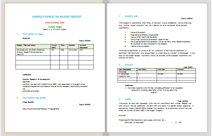 Budget Proposal Format Sample Budget Templates