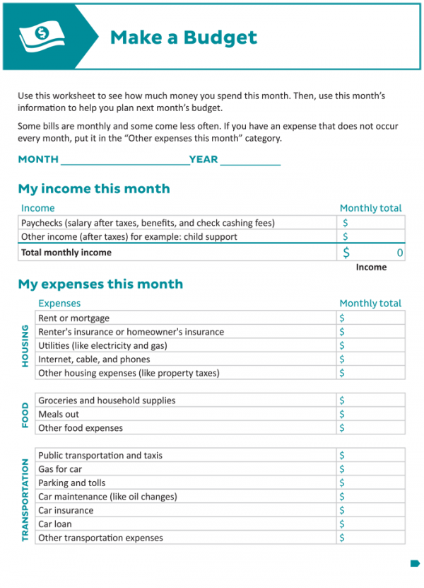 Printable Budget Worksheet (PDF)