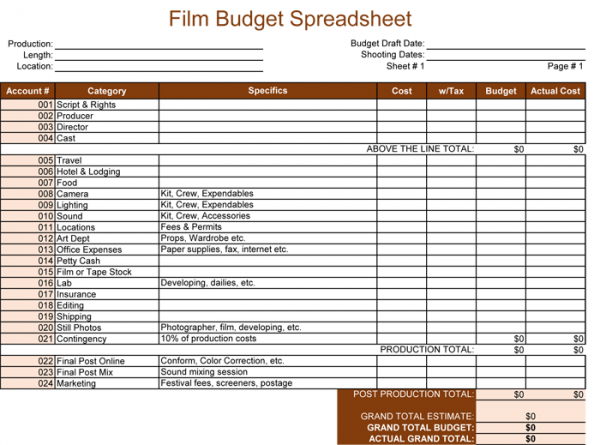 Film Budget Spreadsheet